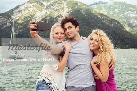Friends taking selfie, Innsbruck, Tirol, Austria, Europe