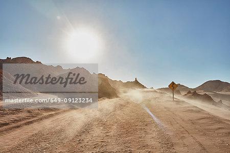 Dusty desert dirt track, San Pedro de Atacama, Chile