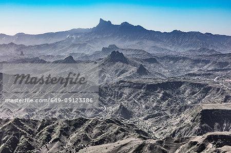 Rugged barren mountain landscape, Serra da Malagueta, Santiago, Cape Verde, Africa