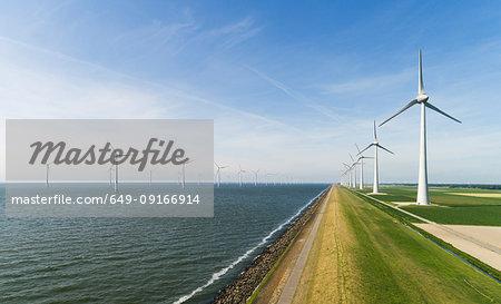 Onshore and offshore wind farm in dutch polder, Urk, Flevoland, Netherlands