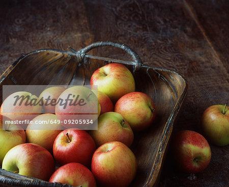 Basket of apples on floor