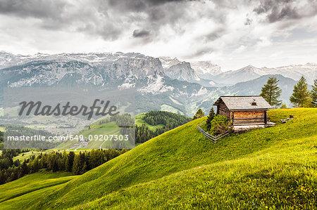 Cabin on hill, Heiligkreuz, Alta Badia South Tyrol, Italy