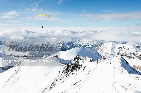 Parachuting, Schilthorn, Murren, Bernese Oberland, Switzerland