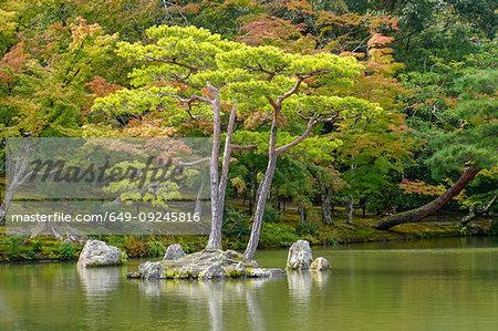 Garden grounds, Zen Buddhist temple Kinkaku-ji (Temple of the Golden Pavilion), AKA Rokuon-ji (Deer Garden Temple), Kyoto, Japan