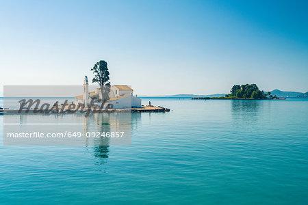 Vlacherna Monastery, rat island on background, Corfu, Kerkira, Greece