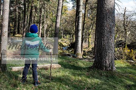 Boy exploring national park, Llanaber, Gwynedd, United Kingdom