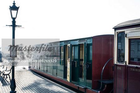 Train at railway station, Llanaber, Gwynedd, United Kingdom