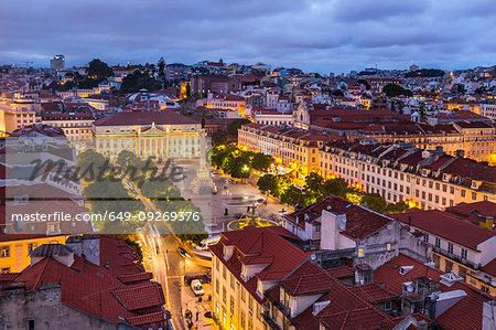 Rossio Square at night, Lisbon, Portugal