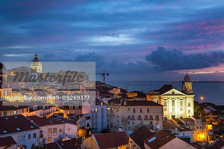 Alfama district at night, Lisbon, Portugal