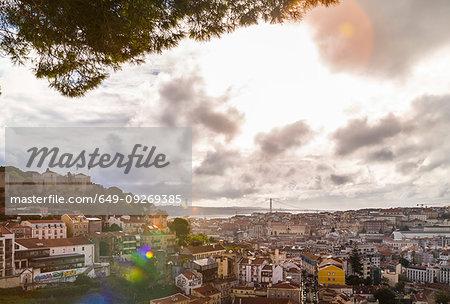 Central Lisbon with Castelo de São Jorge and Ponte 25 de Abril, Lisbon, Portugal