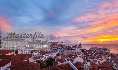 Alfama district at sunset, Lisbon, Portugal