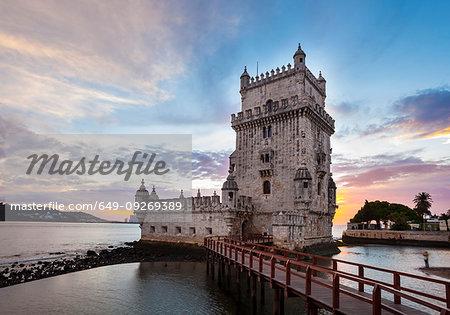 Torre de Belém at sunset, Lisbon, Portugal