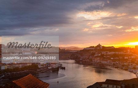 Douro River and Porto skyline at sunset, Porto, Portugal