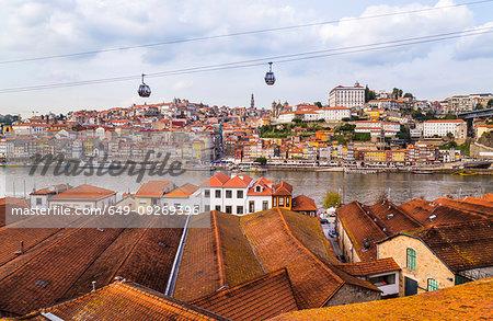 Port wine cellars at Douro River and Teleférico de Gaia, Porto, Portugal