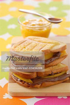 Chocolate and mango toasted sandwich
