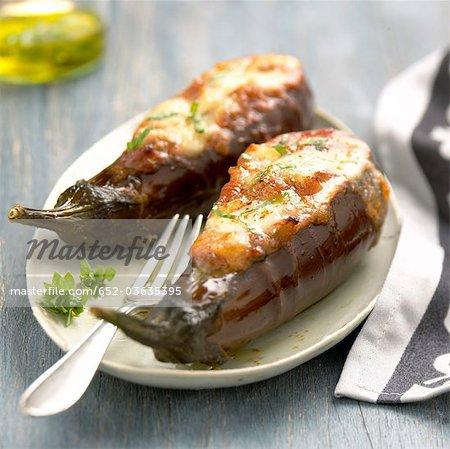 Stuufed eggplants with mozzarella