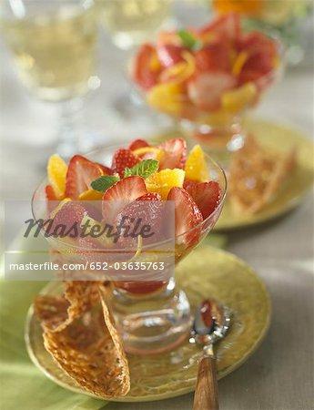 Strawberry and orange fruit salad