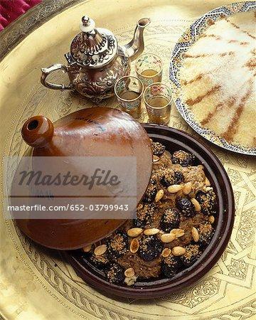 Moroccan prune and almond tajine