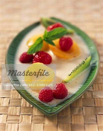 Coconut milk with fruit