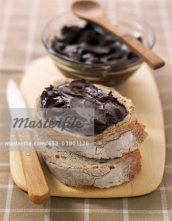 Milk chocolate paste spread on bread