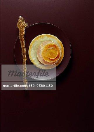 Galette with foie gras,lemon and crunchy caramel