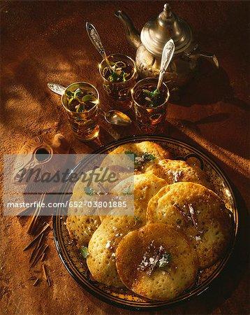Mint tea and pancakes