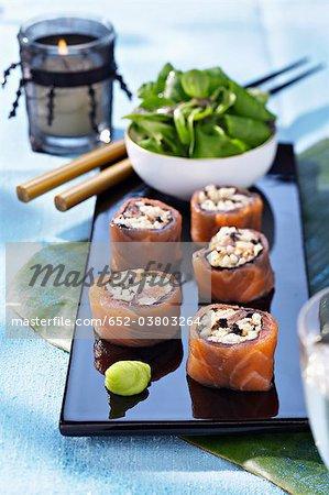 Crab,smoked salmon and truffle makis