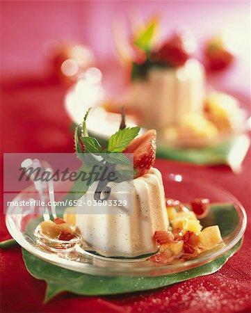 Vanilla cream dessert with fresh fruit