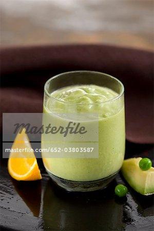 Pea,orange and avocado milkshake