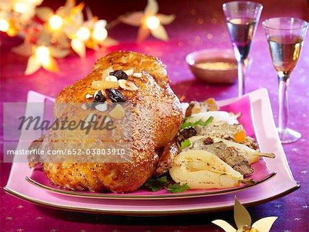 Roast goose with roast pears