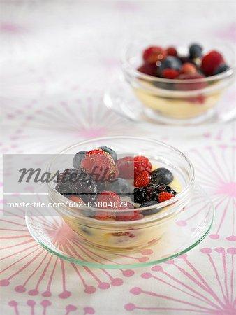 Custard with summer fruit