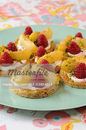 White peach and raspberry shortbread tartlets