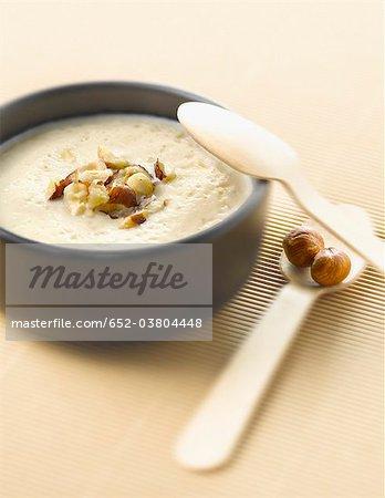 Cream of cauliflower soup with hazelnuts