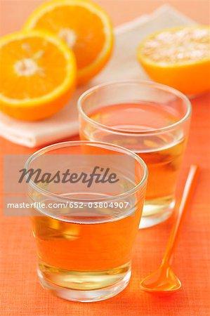 Glasses of orange cordial