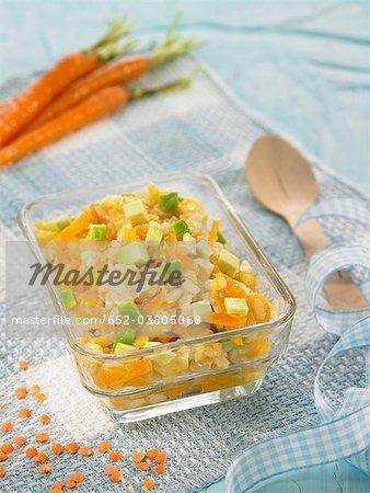 Brown rice,avocado and orange lentil puree
