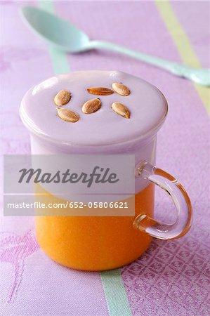 Pumpkin and Vitelotte potato cappuccino
