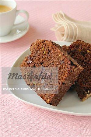 Chocolate, cranberry and pistachio cake