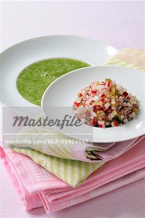 Radish top soup and pink radish Tartare