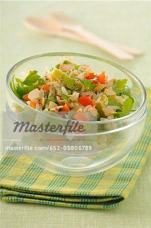 Basmati rice,avocado,pepper and almond salad