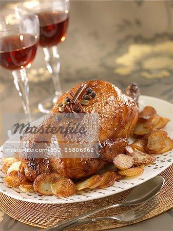 Duck glazed with spicy honey