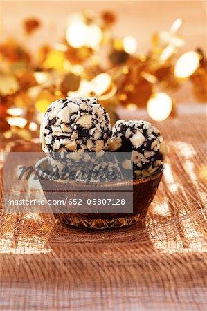 Chocolate and almond truffles
