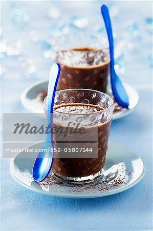 Individual Peruvian chocolate cream desserts