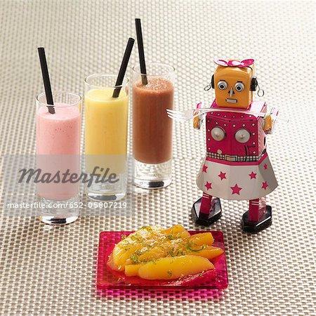 Mango salad and milk shakes
