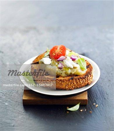 Eggplant caviar and mozzarella Crostini