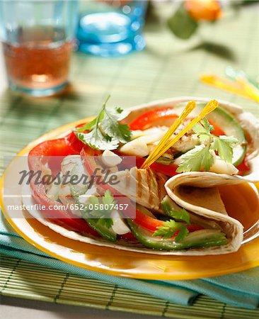 Chicken,red pepper and avocado Burritos
