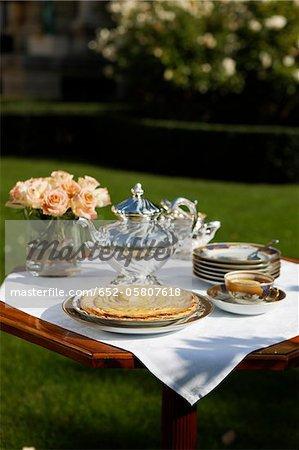 Apple tart on a table outdoors