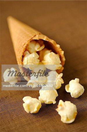 Sweet popcorn in a paper cone