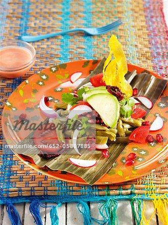 Nopal,tomato,radish,Macho banana and pomegranate salad