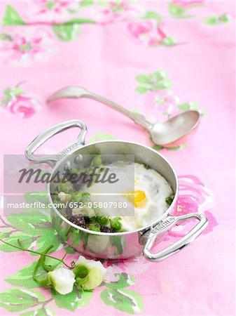 Black Butifarra,pea and egg casserole