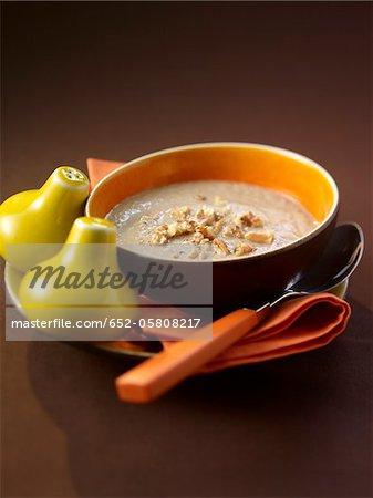 Cream of mushroom soup with walnuts